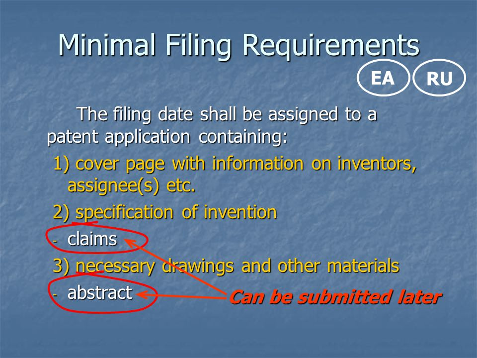 Minimal Filing Requirements