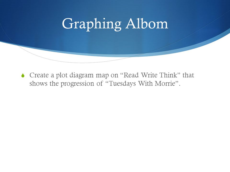 Graphing Albom Create a plot diagram map on Read Write Think that shows the progression of Tuesdays With Morrie .