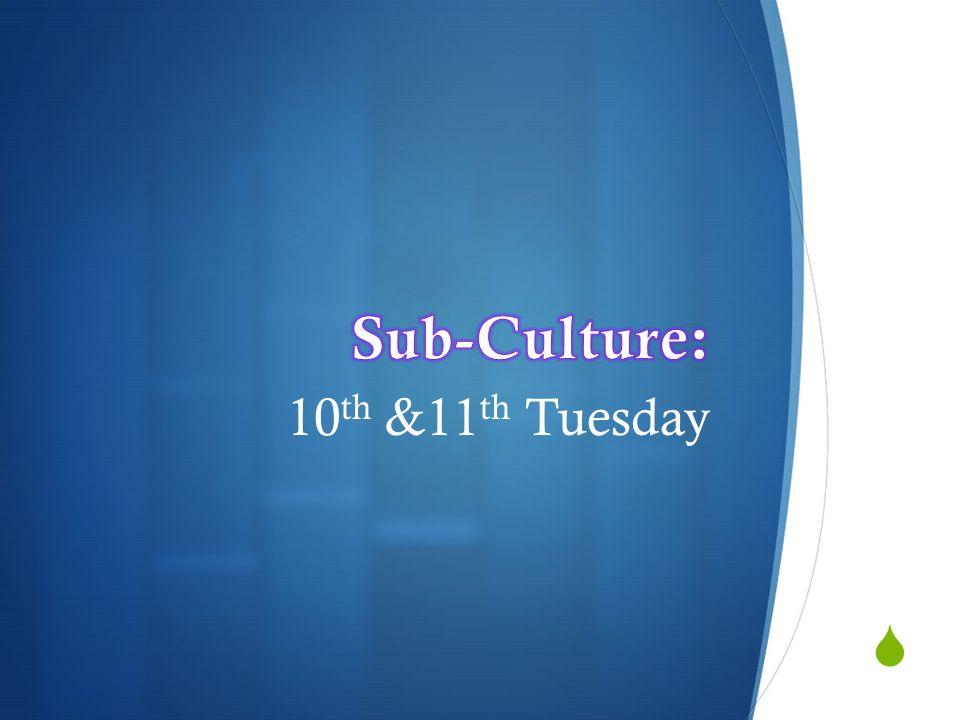 Sub-Culture: 10th &11th Tuesday