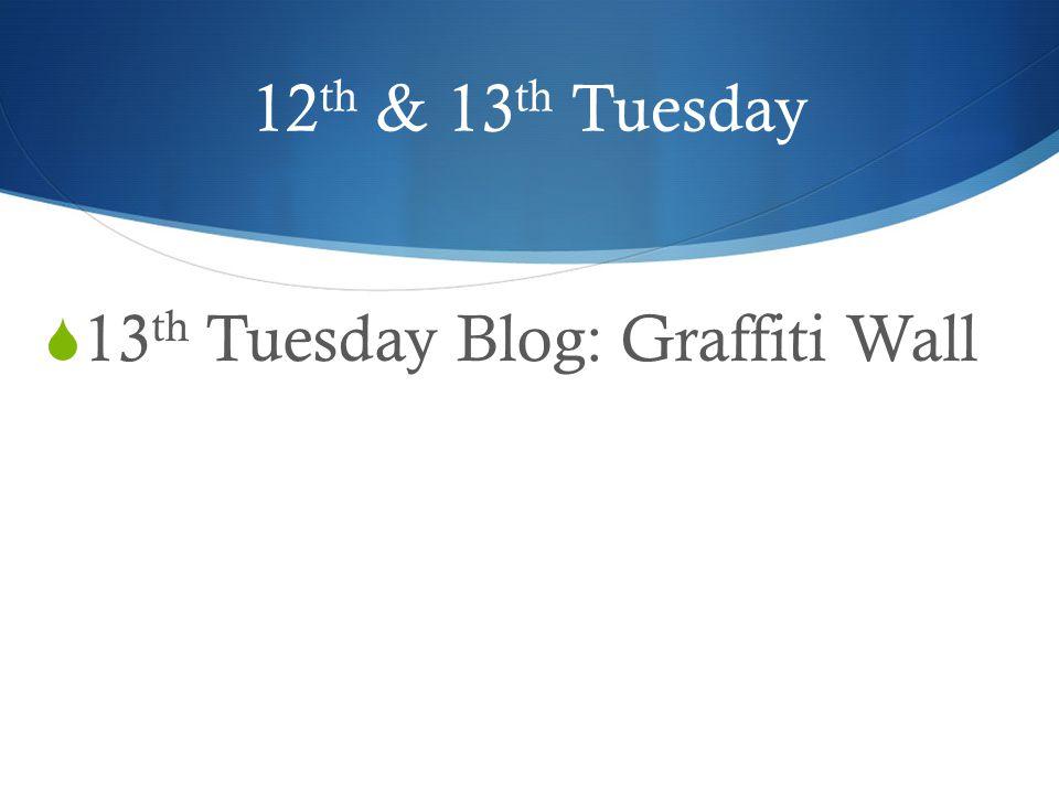 12th & 13th Tuesday 13th Tuesday Blog: Graffiti Wall