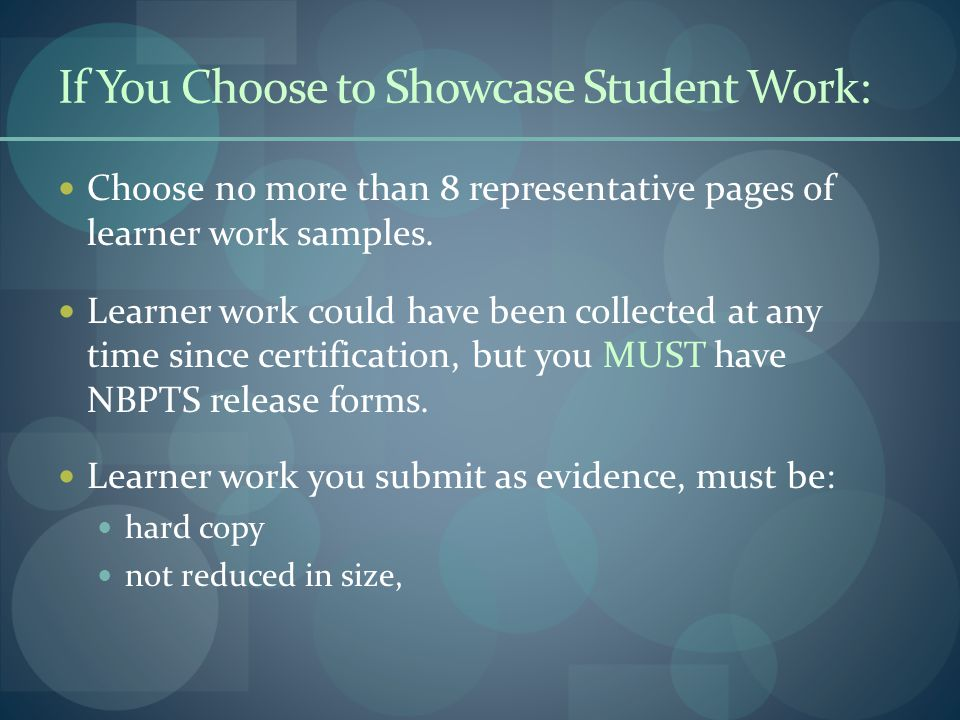 If You Choose to Showcase Student Work: