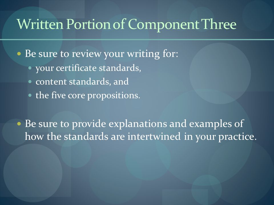 Written Portion of Component Three