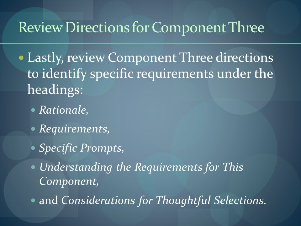 Review Directions for Component Three