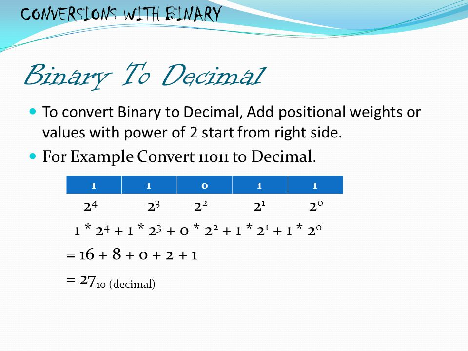 CONVERSIONS WITH BINARY