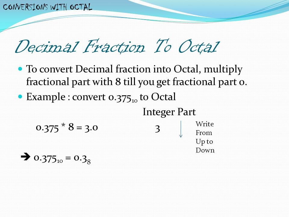 Decimal Fraction To Octal