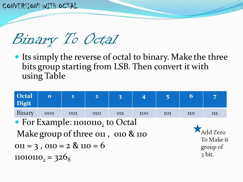 CONVERSIONS WITH OCTAL