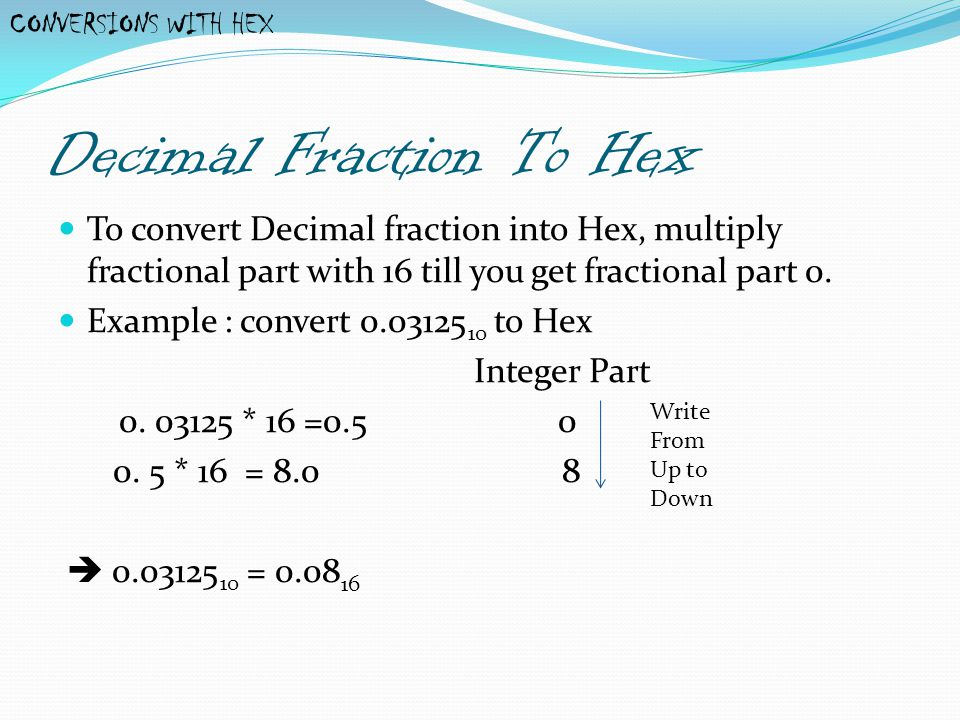 Decimal Fraction To Hex