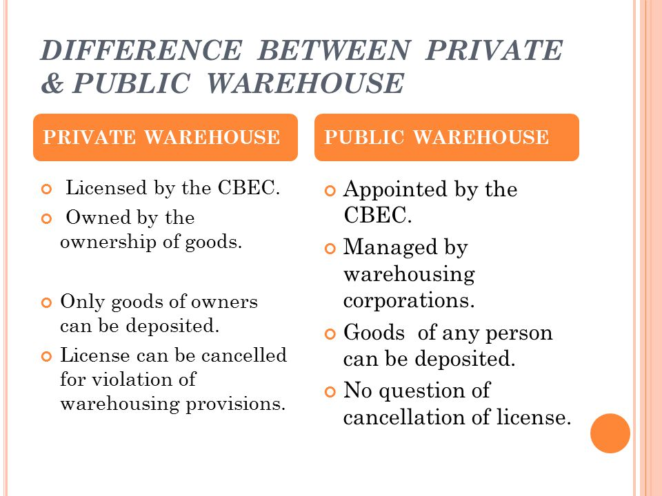 DIFFERENCE BETWEEN PRIVATE & PUBLIC WAREHOUSE
