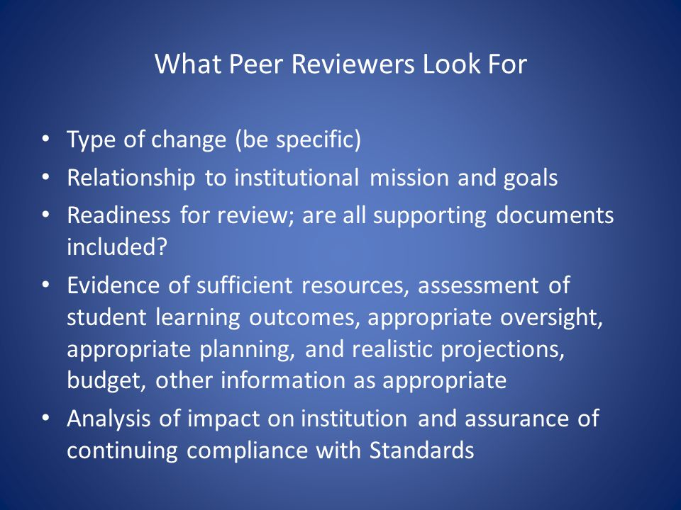 What Peer Reviewers Look For