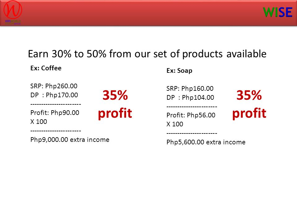 Earn 30% to 50% from our set of products available