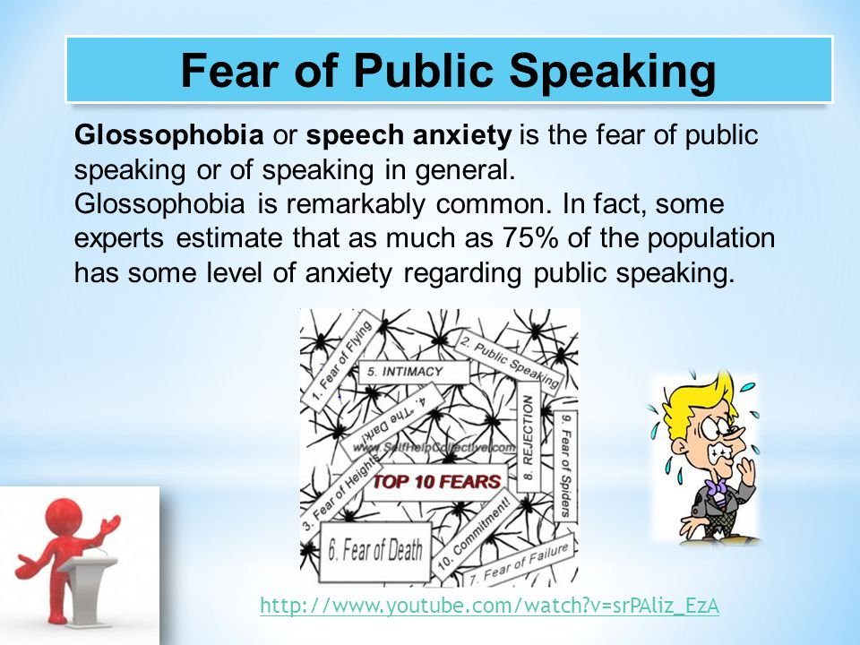 glossophobia one of the most frequent fears Glossophobia can be successfully treated in a variety of ways one of the most common is cognitive-behavioral therapy (cbt) you will learn to replace your messages of fear with more positive self-talk you will also learn relaxation techniques and what to do when you experience a panic attack you will.