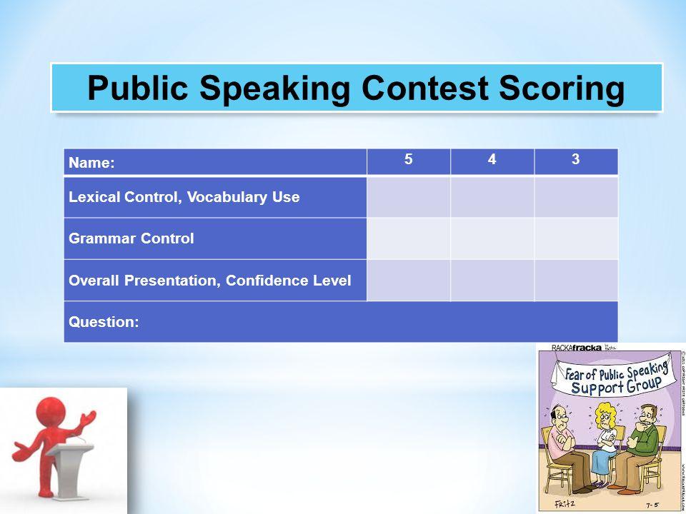 Public Speaking Contest Scoring