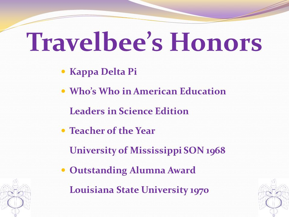 Travelbee's Honors Kappa Delta Pi Who's Who in American Education