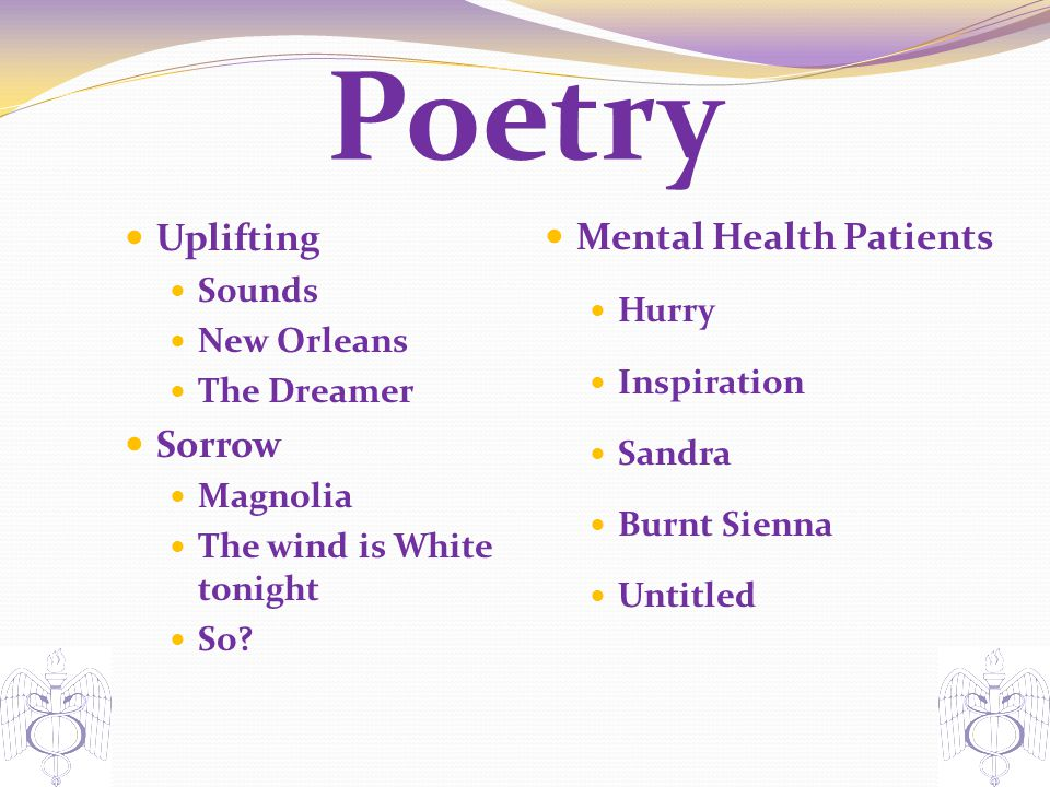 Poetry Mental Health Patients Uplifting Sorrow Hurry Sounds
