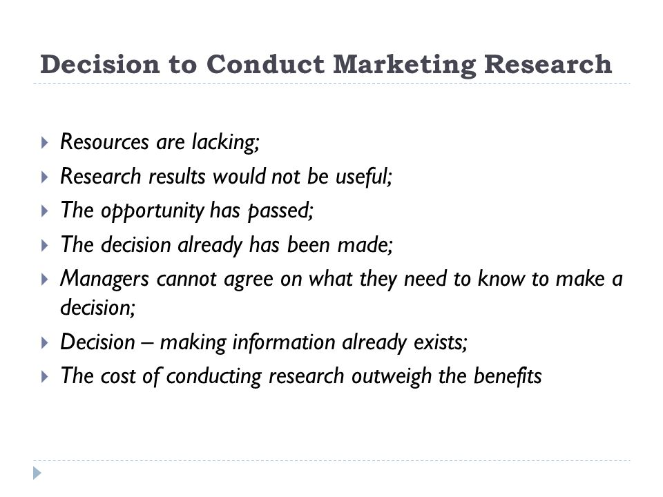 Decision to Conduct Marketing Research
