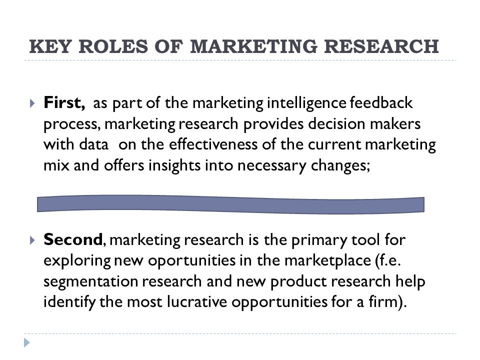 KEY ROLES OF MARKETING RESEARCH