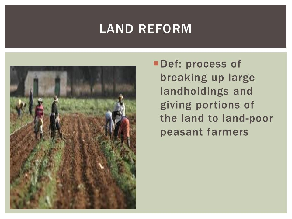 LAND REFORM Def: process of breaking up large landholdings and giving portions of the land to land-poor peasant farmers.