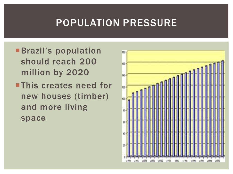 POPULATION PRESSURE Brazil's population should reach 200 million by 2020.