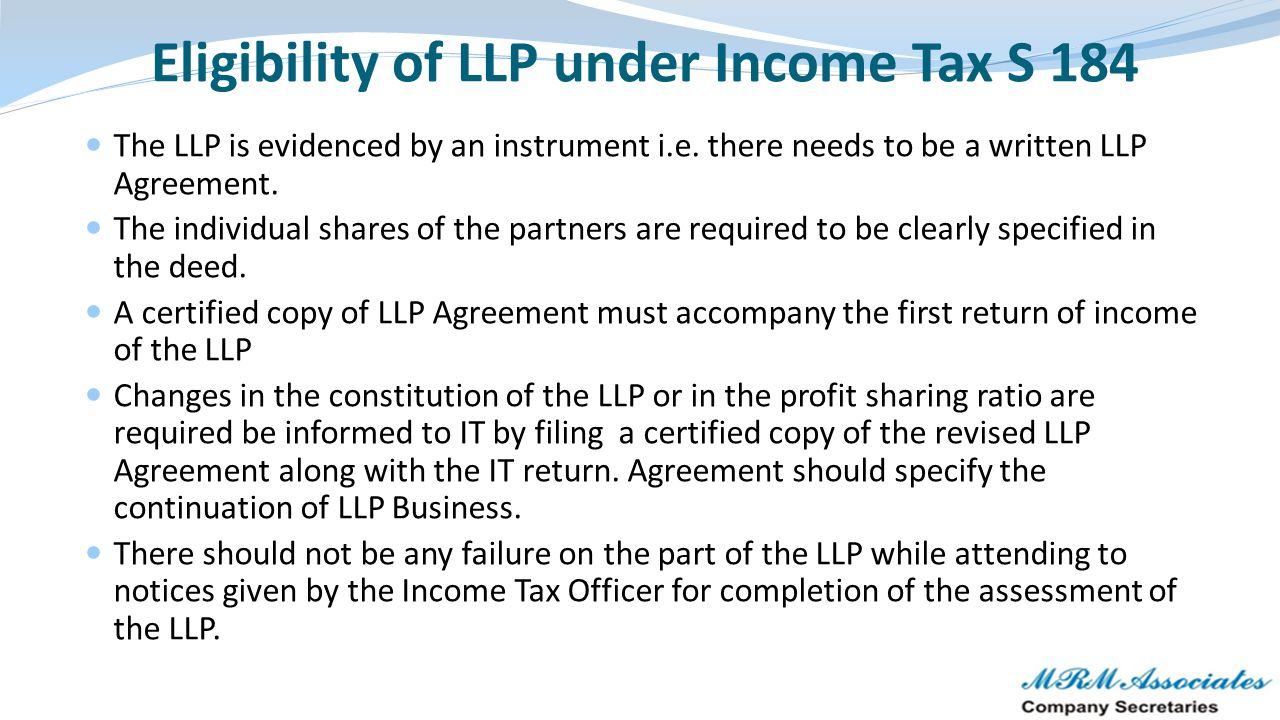 Eligibility of LLP under Income Tax S 184