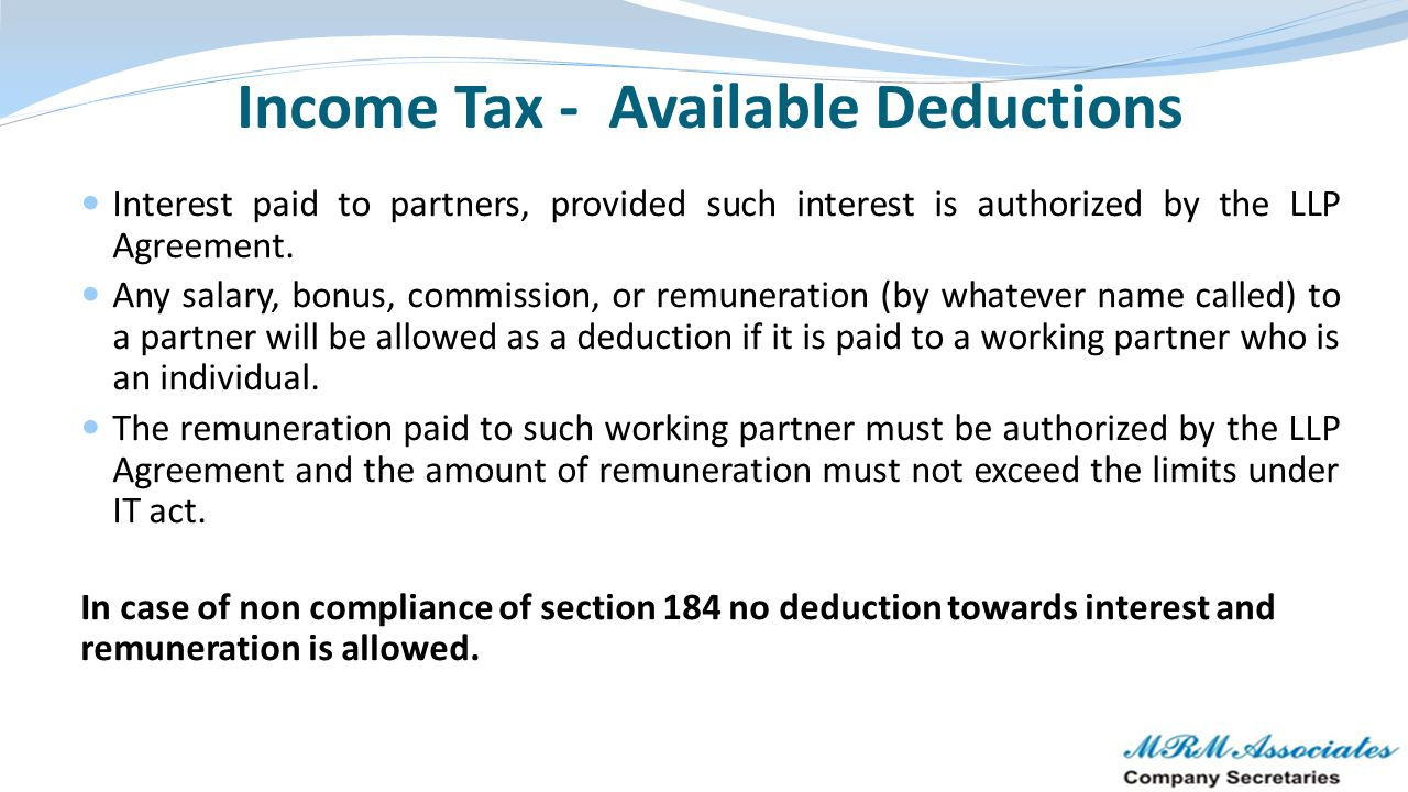 Income Tax - Available Deductions