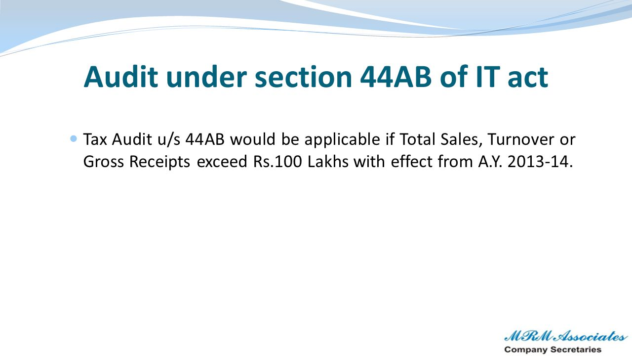 Audit under section 44AB of IT act