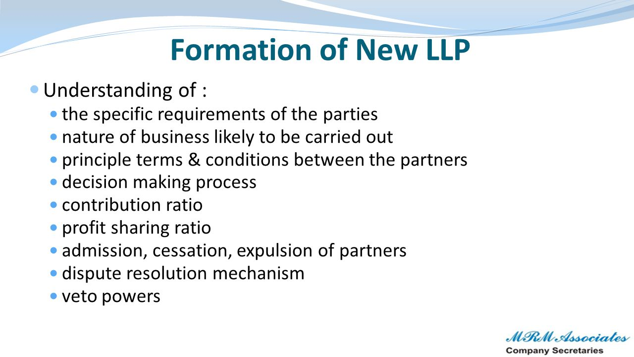 Formation of New LLP Understanding of :