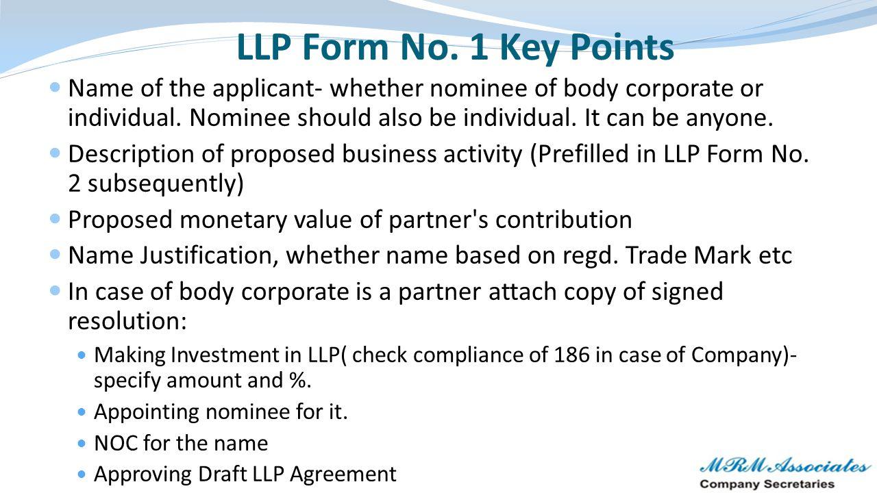 LLP Form No. 1 Key Points