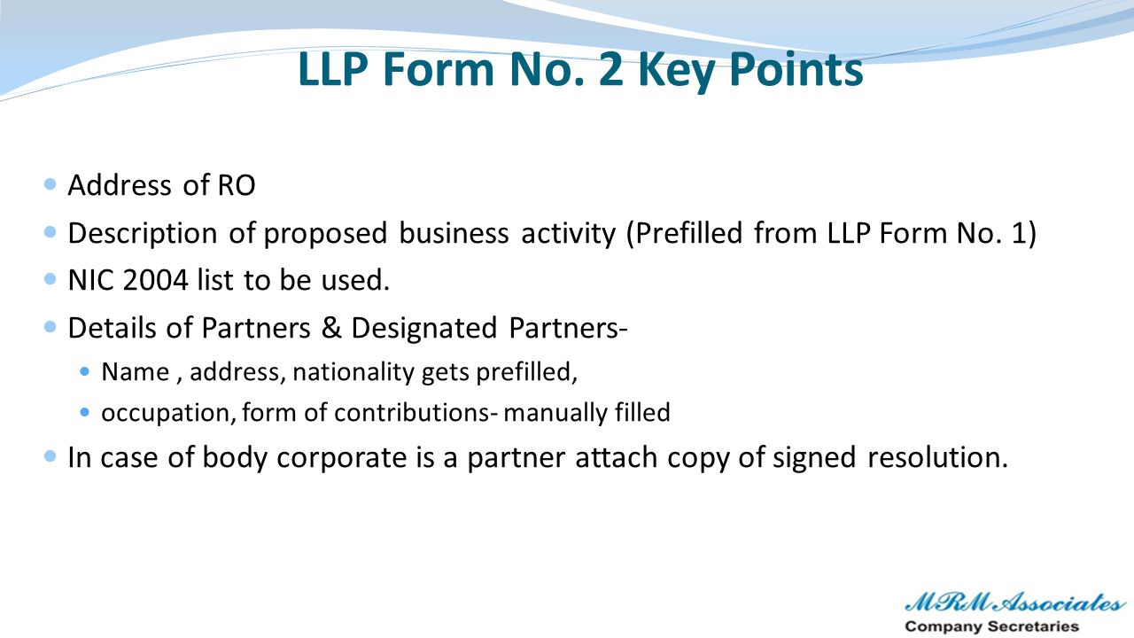 LLP Form No. 2 Key Points Address of RO