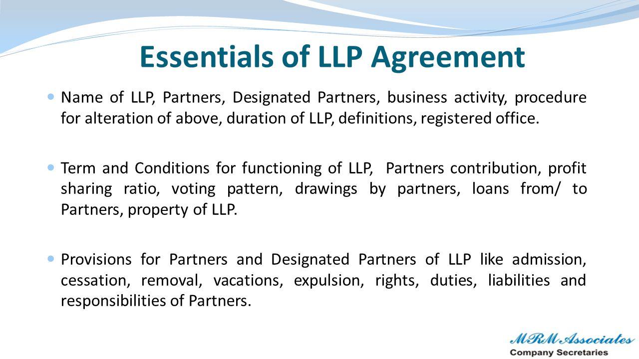 Essentials of LLP Agreement