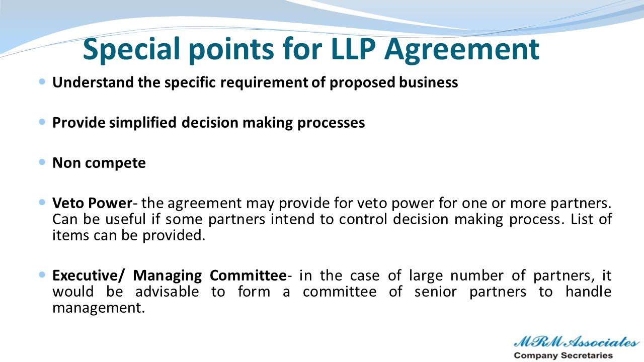Special points for LLP Agreement