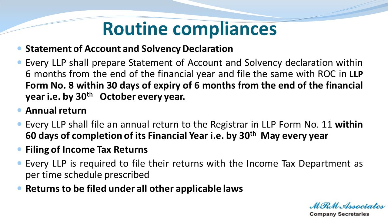 Routine compliances Statement of Account and Solvency Declaration