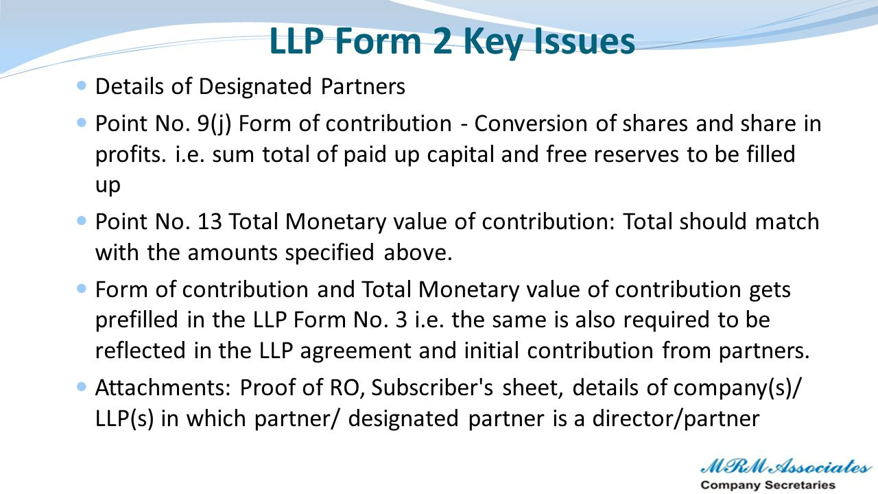 LLP Form 2 Key Issues Details of Designated Partners