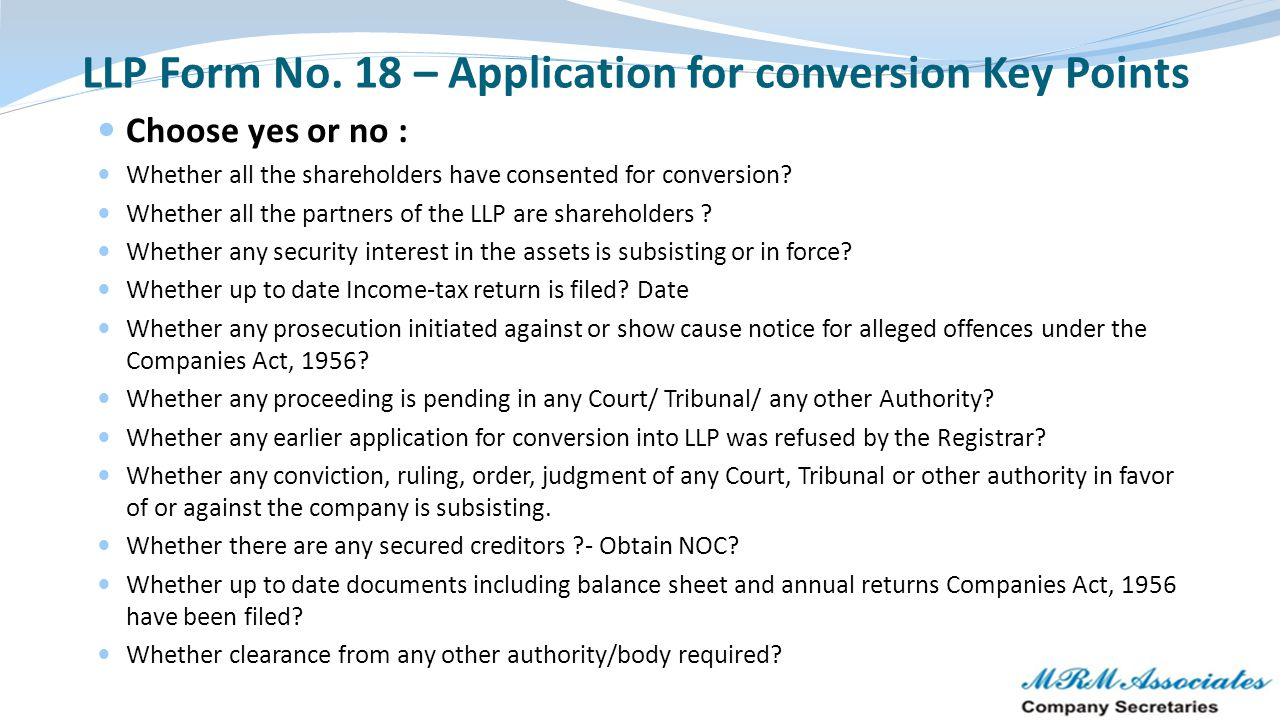 LLP Form No. 18 – Application for conversion Key Points