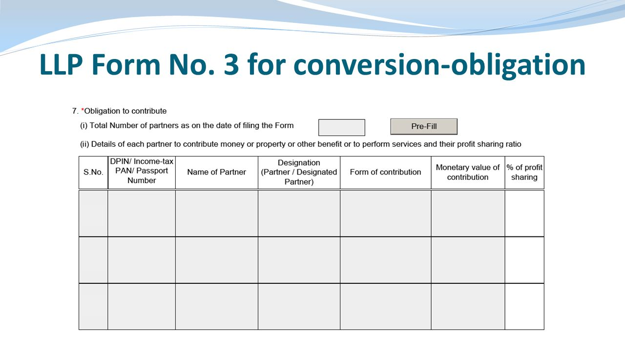LLP Form No. 3 for conversion-obligation