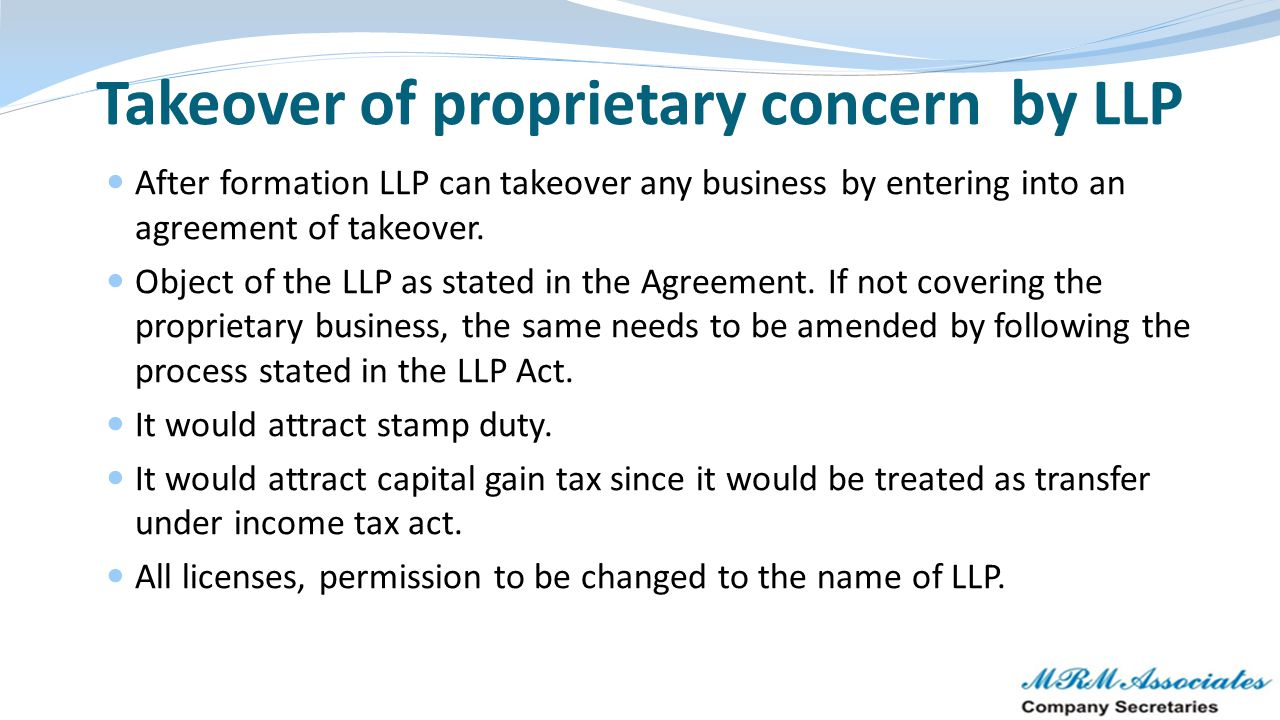 Takeover of proprietary concern by LLP