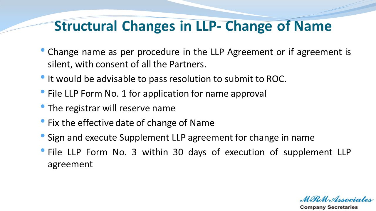 Structural Changes in LLP- Change of Name