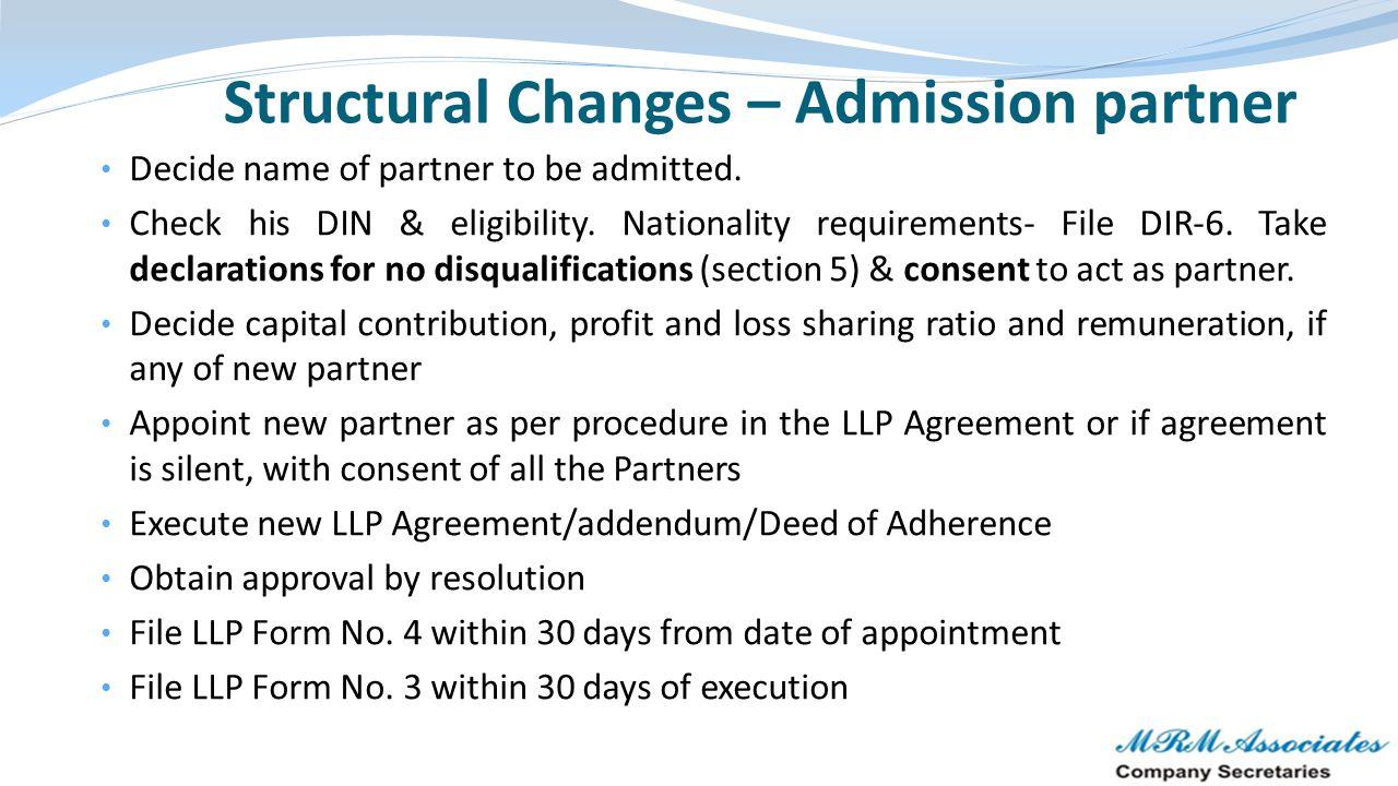 Structural Changes – Admission partner