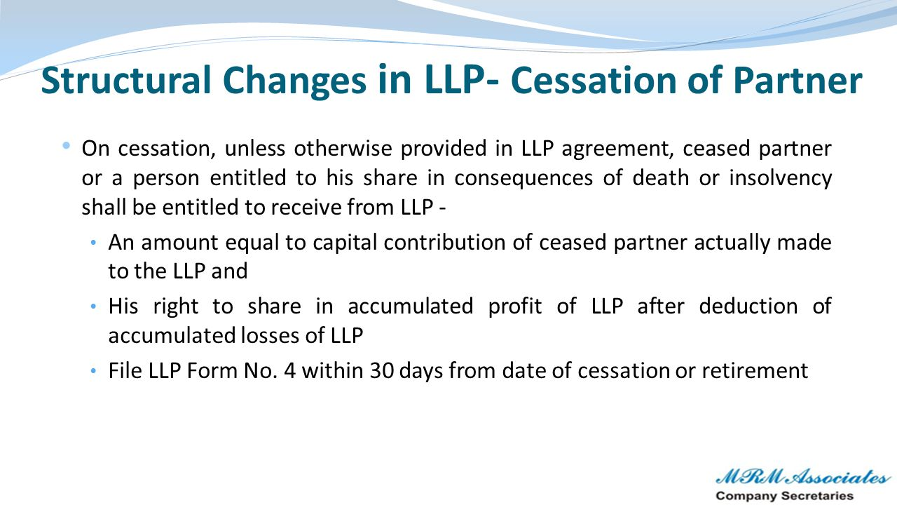 Structural Changes in LLP- Cessation of Partner