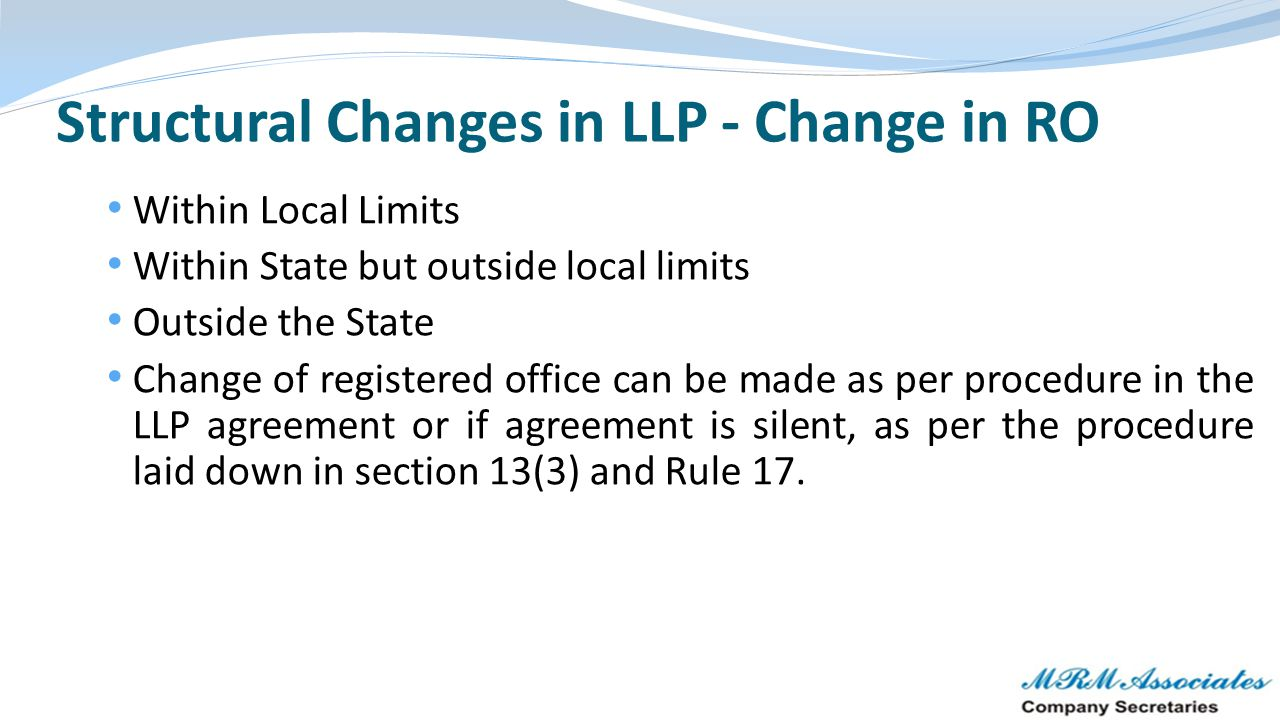 Structural Changes in LLP - Change in RO