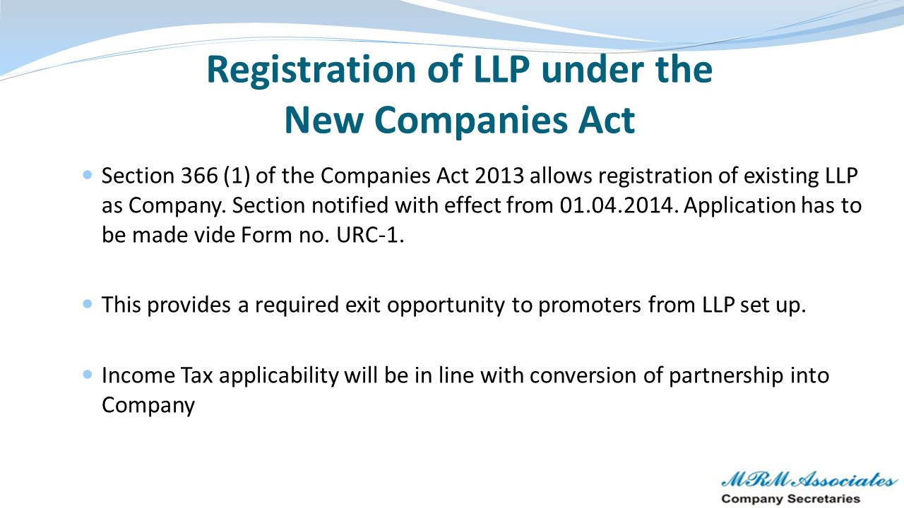 Registration of LLP under the New Companies Act