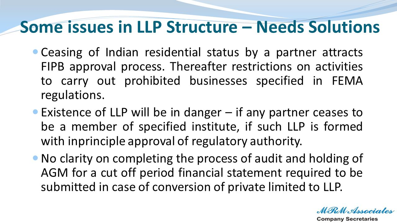 Some issues in LLP Structure – Needs Solutions