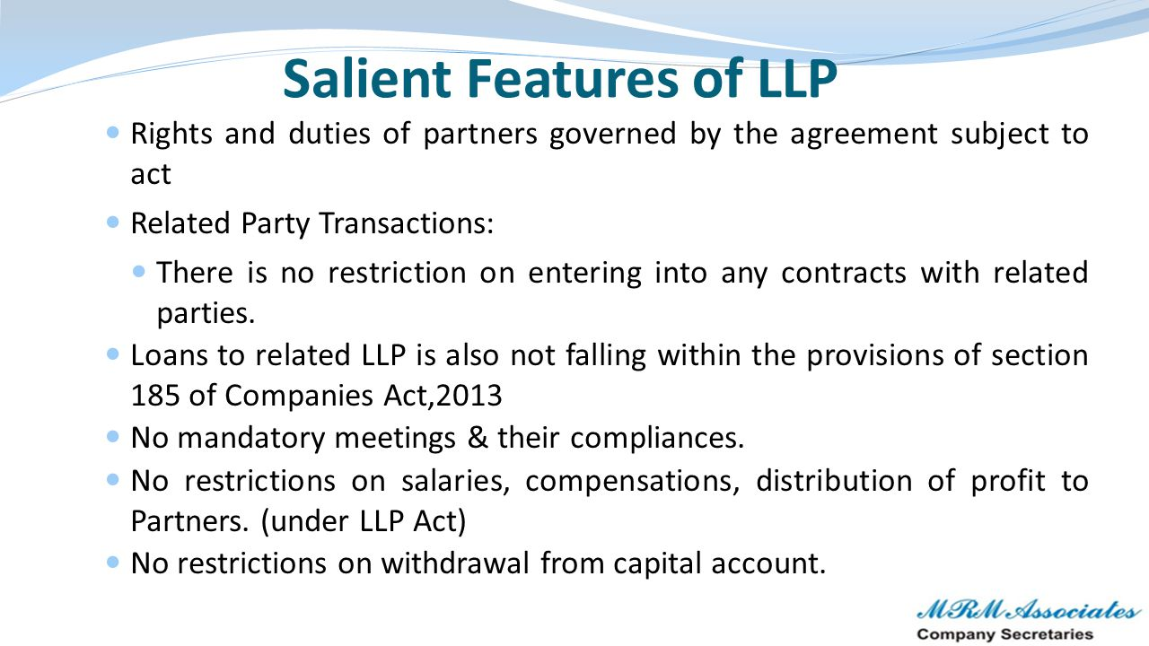 Salient Features of LLP