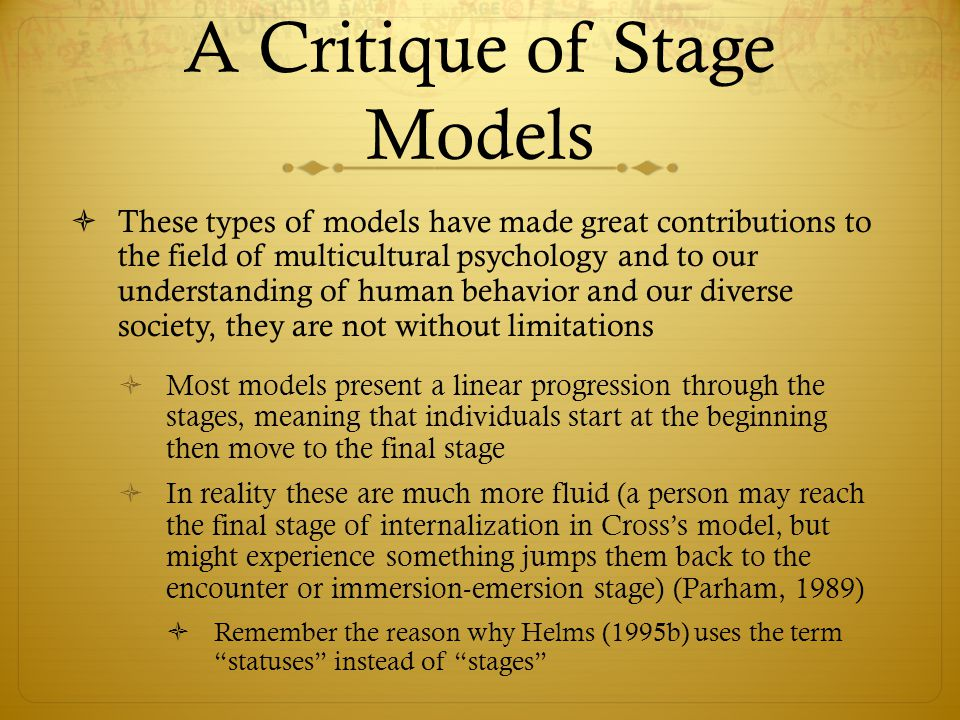 A Critique of Stage Models