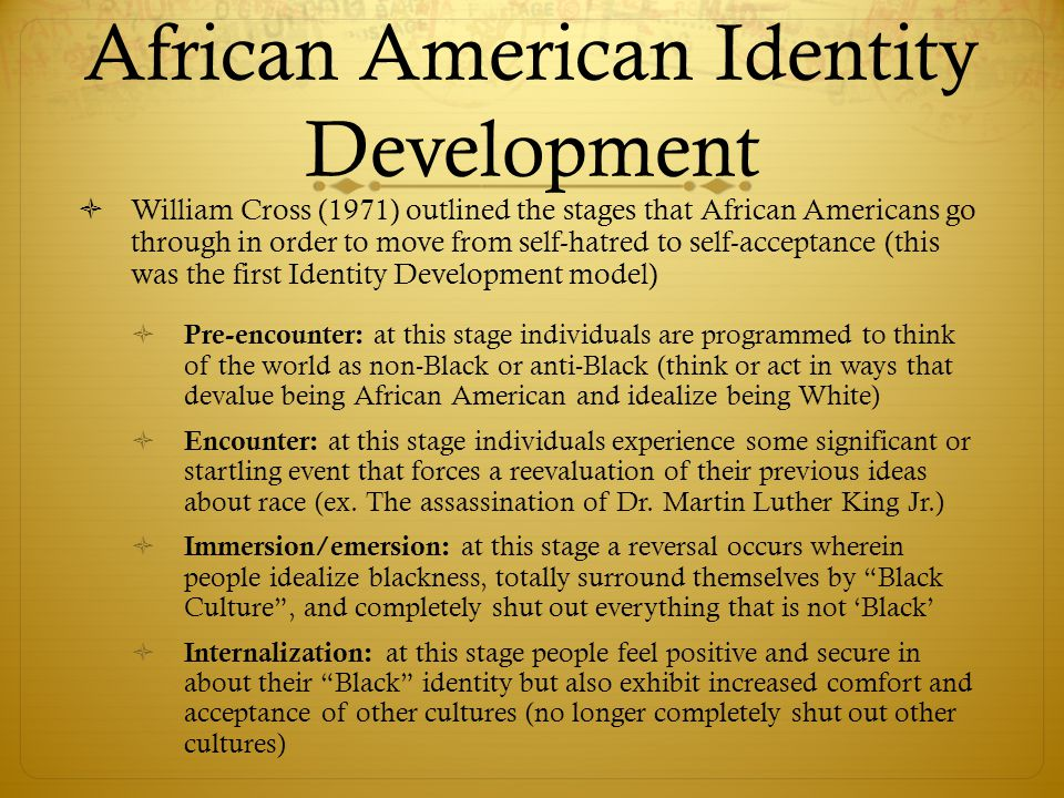 white racial identity development essays Racial identity development affects the way in which cultural knowledge and style are defined and valued i feel that educators with poorly developed levels of racial identity can marginalize children's cultural differences in subtle, unconsicious ways.
