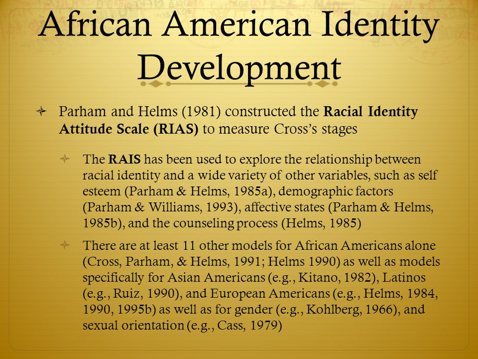 african american identity Necessary to assess sufficiently african american identity development african americans have shared a challenging history however, they have also demonstrated a remarkable collective.
