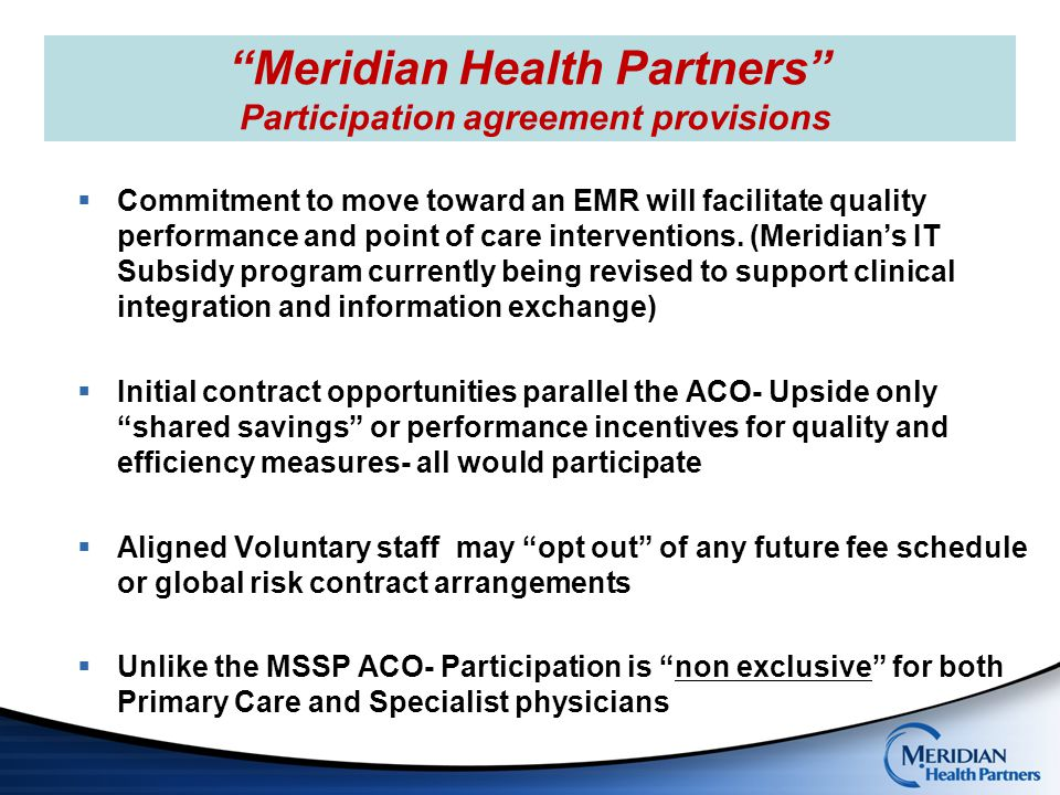 Meridian Health Partners Participation agreement provisions