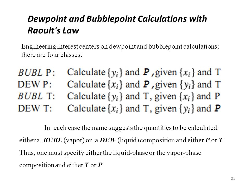 Dewpoint and Bubblepoint Calculations with Raoult s Law