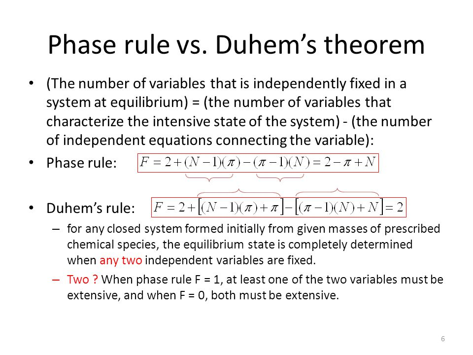 Phase rule vs. Duhem's theorem