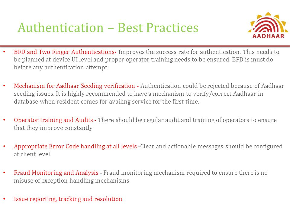 Authentication – Best Practices
