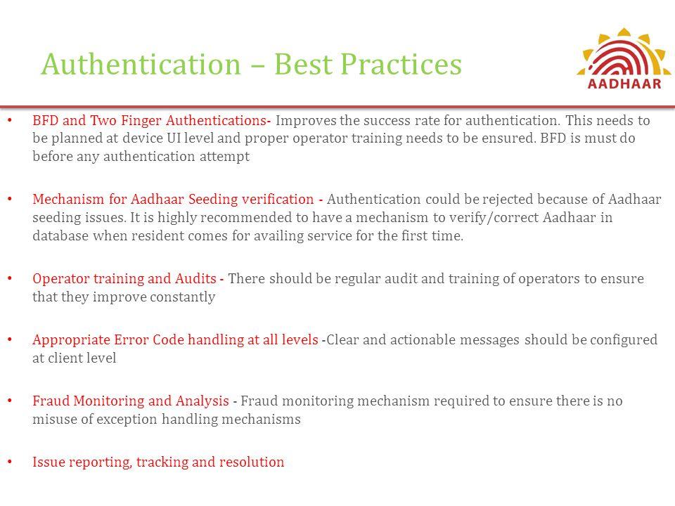 Authentication – Best Practices
